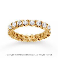 1 1/2  Carat Diamond 18k Y Gold Eternity Round Four Prong Band