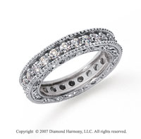 1 1/4 Carat Diamond Platinum Eternity Filigree Prong Band
