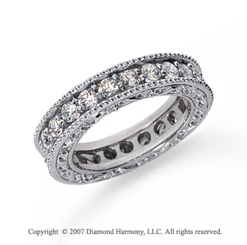 1 1/2 Carat Diamond Platinum Eternity Filigree Round Prong Band.