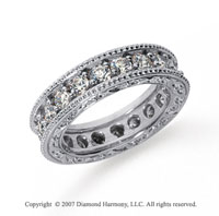 2 1/2 Carat Diamond Platinum Eternity Filigree Prong Band