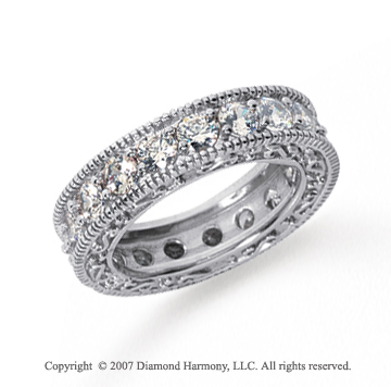 3 Carat Diamond Platinum Eternity Filigree Prong Band