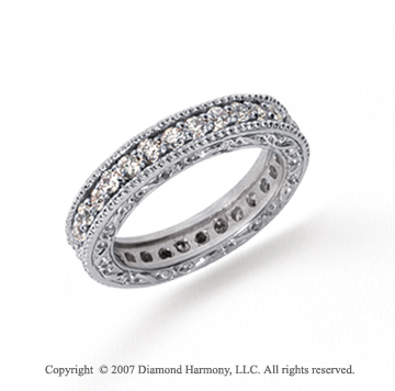 1 Carat Diamond Platinum Eternity Filigree Prong Band