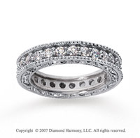 1 1/4 Carat Diamond 14k White Gold Eternity Filigree Prong Band