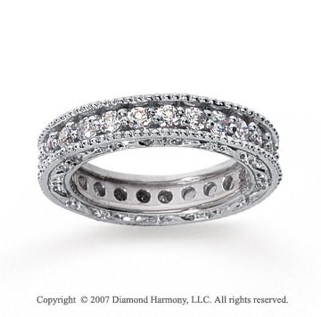 1 1/4 Carat Diamond 18k W Gold Eternity Filigree Prong Band