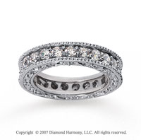 1 1/2 Carat Diamond 18k White Gold Eternity Filigree Band