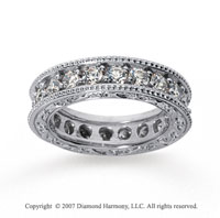 2 1/2 Carat Diamond 18k White Gold Eternity Filigree Prong Band