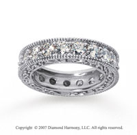 3 Carat Diamond 18k White Gold Eternity Filigree Prong Band