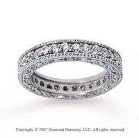 1 Carat Diamond 18k White Gold Eternity Filigree Prong Band
