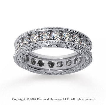 2 Carat Diamond 18k White Gold Eternity Filigree Prong Band