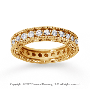 1 1/4 Carat Diamond 14k Yellow Gold Eternity Filigree Prong Band