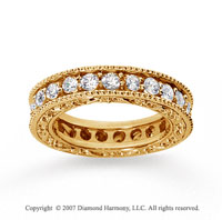 1 1/2 Carat Diamond 14k Yellow Gold Eternity Filigree Band