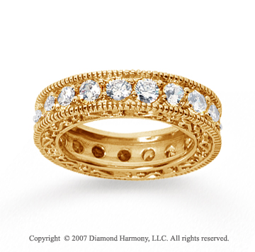 3 Carat Diamond 14k Yellow Gold Eternity Filigree Prong Band