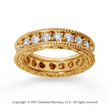 2 Carat Diamond 14k Yellow Gold Eternity Filigree Prong Band