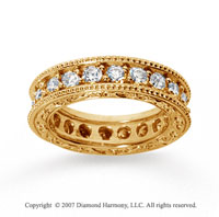 2 1/2 Carat Diamond 18k Yellow Gold Eternity Filigree Prong Band