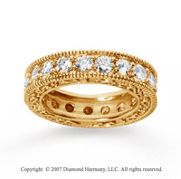 3 Carat Diamond 18k Yellow Gold Eternity Filigree Prong Band