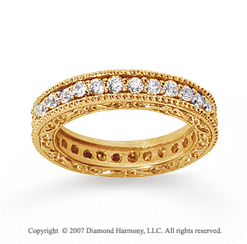 1 Carat Diamond 18k Yellow Gold Eternity Filigree Prong Band