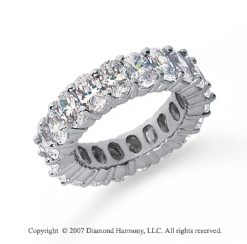 6 1/2 Carat Diamond Platinum Eternity Oval Prong Band