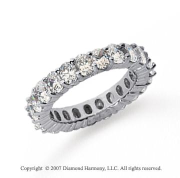 4 1/2 Carat Diamond 18k White Gold Eternity Oval Prong Band