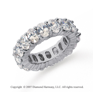 9 Carat Diamond 18k White Gold Eternity Oval Prong Band