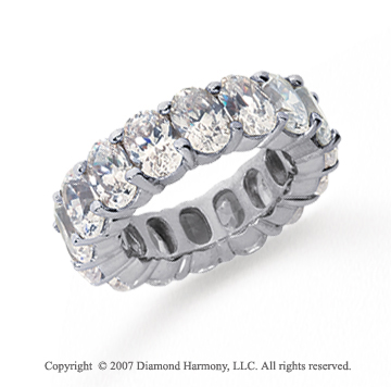 12 Carat Diamond 18k White Gold Eternity Oval Prong Band