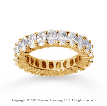 5 1/2 Carat Diamond 14k Yellow Gold Eternity Oval Prong Band