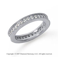 3/4 Carat Diamond Platinum Eternity Milgrain Prong Band