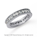 1 1/4 Carat Diamond Platinum Eternity Milgrain Prong Band