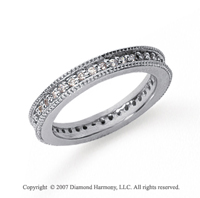 1/2 Carat Diamond 14k White Gold Eternity Milgrain Prong Band