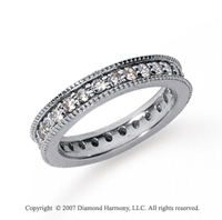 1 Carat Diamond 14k White Gold Eternity Milgrain Prong Band