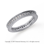 1/2 Carat Diamond 18k White Gold Eternity Milgrain Prong Band