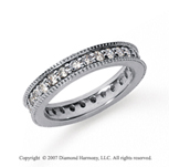 1 Carat Diamond 18k White Gold Eternity Milgrain Prong Band