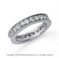 1 1/4 Carat Diamond 18k White Gold Eternity Milgrain Prong Band