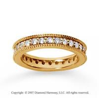 1 Carat Diamond 14k Yellow Gold Eternity Milgrain Prong Band