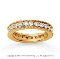 1 1/4  Carat Diamond 14k Yellow Gold Eternity Milgrain Prong Band