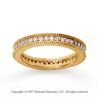 1/2  Carat Diamond 18k Yellow Gold Eternity Milgrain Prong Band