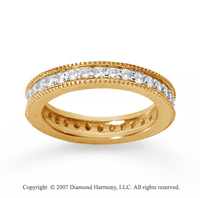 3/4  Carat Diamond 18k Yellow Gold Eternity Milgrain Prong Band