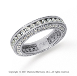 1 1/2 Carat Diamond Platinum Eternity Prong Pave Band