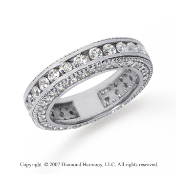 2 Carat Diamond Platinum Eternity Prong Pave Band