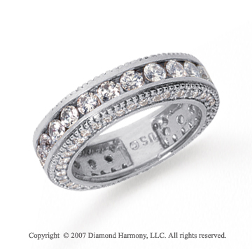2 1/2 Carat Diamond Platinum Eternity Prong Pave Band
