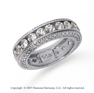 3 Carat Diamond Platinum Eternity Prong Pave Band