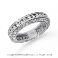 1 1/2 Carat Diamond 14k White Gold Eternity Prong Pave Band
