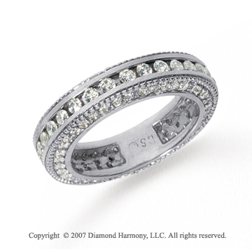 1 1/2 Carat Diamond 18k White Gold Eternity Prong Pave Band