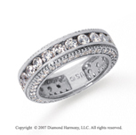 2 1/2 Carat Diamond 18k White Gold Eternity Prong Pave Band