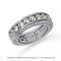 3 Carat Diamond 18k White Gold Eternity Prong Pave Band