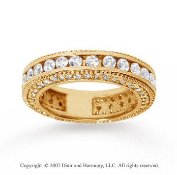 2 Carat Diamond 14k Yellow Gold Eternity Prong Pave Band