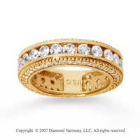 2 1/2 Carat Diamond 18k Yellow Gold Eternity Prong Pave Band