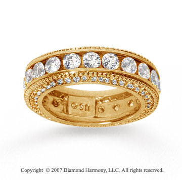 3 Carat Diamond 18k Yellow Gold Eternity Prong Pave Band