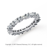 1 1/4 Carat Diamond 18k White Gold Eternity Round Baguette Band