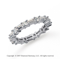 1 1/2 Carat Diamond 18k White Gold Eternity Round Baguette  Band