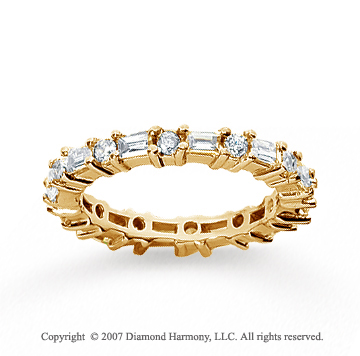 1 1/4 Carat Diamond 14k Yellow Gold Eternity Round Baguette Band